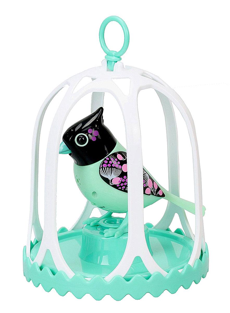 DigiBirds Интерактивная игрушка Птичка в клетке цвет зеленый черный88295SПтичка DigiBirds - это забавная интерактивная игрушка, которая займет малыша на длительное время. Эта игрушка умеет выполнять разные действия: щебетать, петь песенки, при этом двигая головой и клювом. Если подуть на грудку птички, она начнет щебетать. Если подуть в свисток, птичка станет исполнять известную песенку. Игрушка воспроизводит 55 музыкальных мелодий и звуков. Птичка сидит в изящной клетке. В комплекте с птичкой имеется кольцо-свисток с удобным держателем для птички. Птичка DigiBirds работает в двух режимах: соло и хор. Можно сихронизировать неограниченное количество птиц, или других персонажей DigiFriends. В режиме хор птички могут петь вместе, они слышат друг друга и поют синхронно, благодаря встроенным сенсорам. В хоре всегда есть главная птица и подпевающие. Главной становится та, которую вы включили первой. Игрушка развивает музыкальный слух, любовь к музыке и животным. Для работы игрушки необходимы 3 батарейки напряжением...