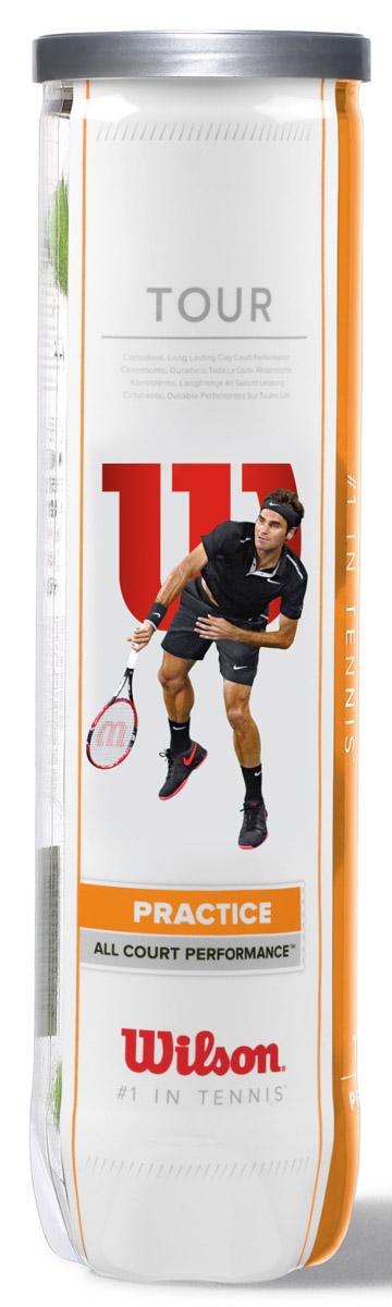 Мячи теннисные Wilson Tour Practice 4TballWRT114500Отличный теннисный мяч для тренировок и занятий с теннисной пушкой.