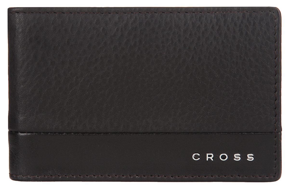 Зажим для купюр мужской Cross, цвет: темно-коричневый. AC028377-2AC028377-2Стильный зажим для купюр Cross, изготовлен из натуральной кожи с зернистой фактурой, оформлен металлической фурнитурой с символикой бренда. Изделие раскладывается пополам. Внутри расположены шесть карманов для пластиковых карт и зажим для купюр. Снаружи, на задней стороне изделия, расположен карман с сетчатой вставкой. Компактный зажим для купюр станет практичным аксессуаром, который подчеркнет ваш стиль.