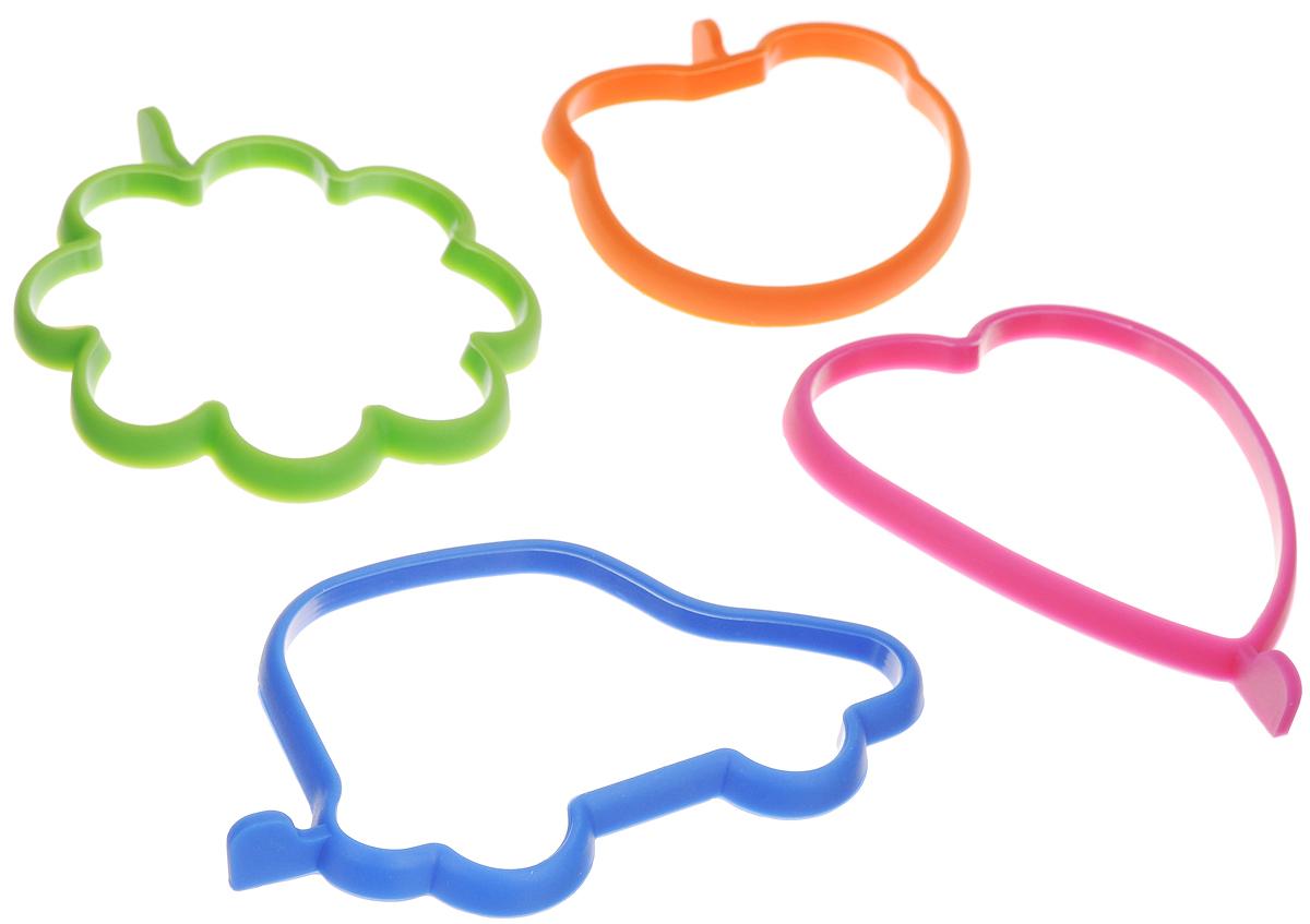 Форма для яичницы и оладьев Elan Gallery, силиконовая, 4 шт. 590076590076Формы Elan Gallery изготовлены из силикона. Они предназначены для приготовления яичницы, выпекания блинов необычной формы и других блюд. Необходимо просто залить приготавливаемую массу внутрь формочки, расположенной на сковородке, и подождать, пока блюдо не будет готово. Формы для яичницы и оладьев Elan Gallery помогут накормить самого капризного малыша. Не использовать в микроволновой печи. Средний размер форм: 11 х 5 х 1 см.