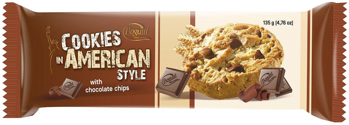 Bogutti American Cookies печенье с крошкой темного и молочного шоколада, 135 г