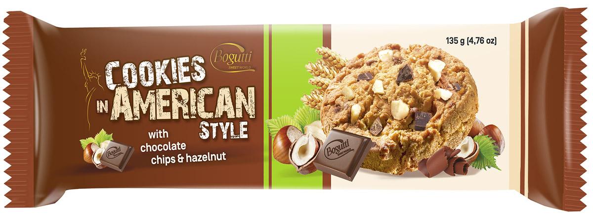 Bogutti American Cookies печенье с шоколадной и ореховой крошкой, 135 г14406Bogutti American Cookies - высококачественное сдобное печенье с шоколадной крошкой и крошкой дробленого ореха, приготовленное по лучшим итальянским технологиям, из тщательно отобранного сырья. Качество всех изделий отвечает высоким международным требованиям BRC, IFS, а сама выпечка выглядит аппетитно и привлекательно.