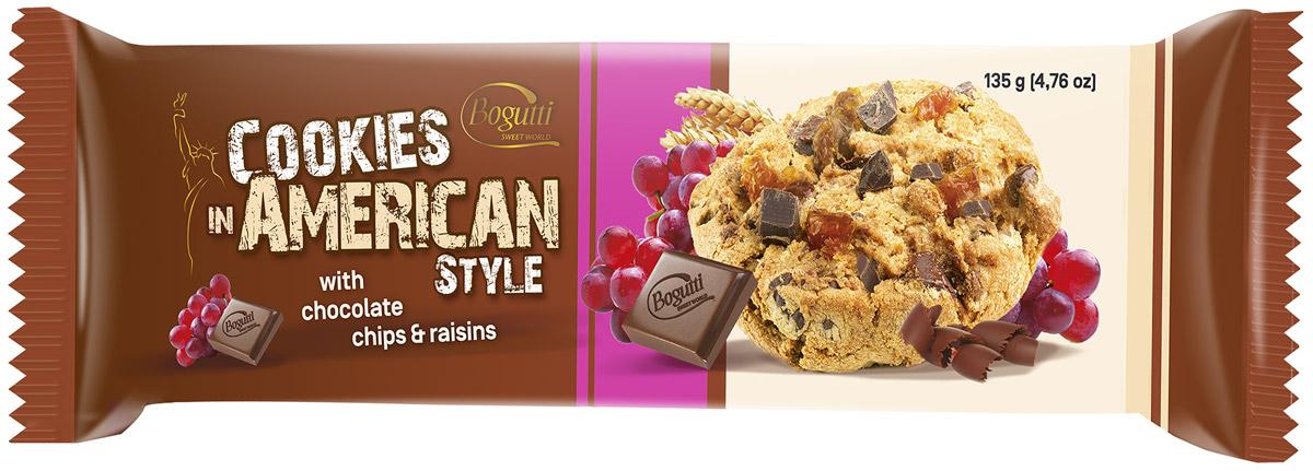 Bogutti American Cookies печенье с шоколадной крошкой и изюмом, 135 г