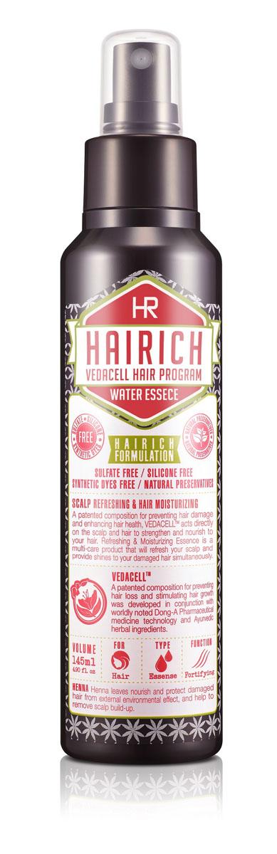 Hairich Увлажняющая эссенция Vedacell, 145 мл8806011814771Серия HAIRICH VEDACELL HAIR PROGRAM содержит запатентованный комплекс растительных экстрактов (зеленый чай, имбирь, сосна, аир, хна, японский кипарис, арроурут, якорцы, амла), который препятствует выпадению, укрепляет и стимулирует рост волос. 5 видов аюрведических масел (кокоса, оливы, тыквенных семечек, подсолнечника) успокаивают, охлаждают кожу головы и придают волосам здоровое сияние. Все средства серии обладают приятным ароматом, который позволяет расслабиться и снимает накопленный за день стресс. Увлажняющая эссенция бережно ухаживает за волосами и кожей головы. Средство успокаивает проблемную кожу головы, снимая зуд и раздражение. Увлажняющая эссенция сертифицирована KFDA (Комитет по контролю качества продуктов питания и лекарственных препаратов Юж. Кореи) как средство, предназначенное для борьбы с выпадением волос и стимулирующее рост волос. Не содержит силиконы, сульфаты, красители