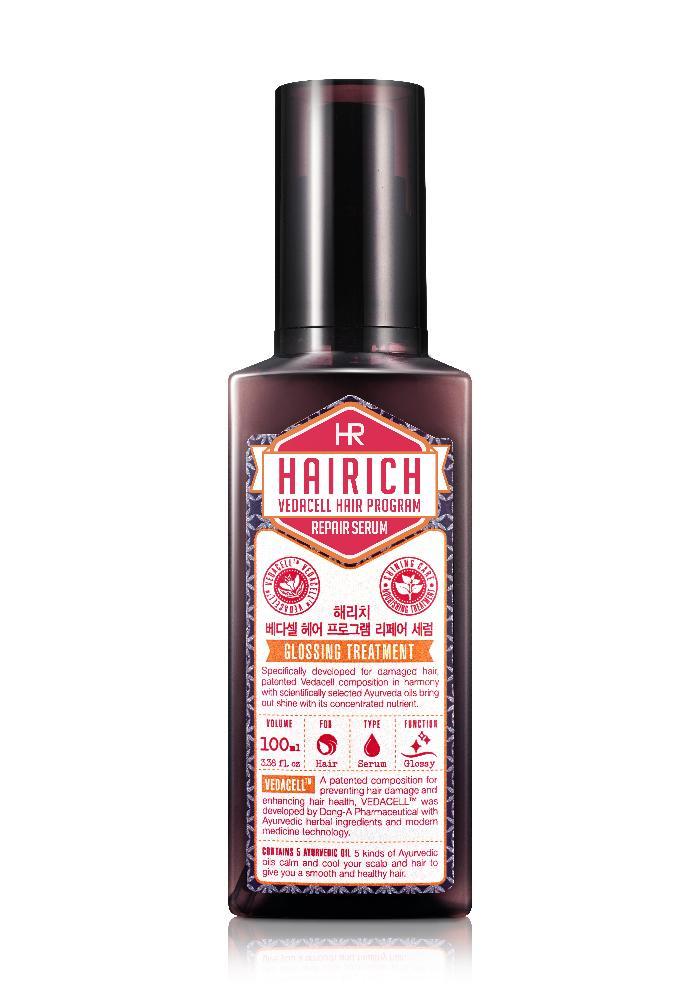Hairich Восстанавливающая сыворотка Vedacell, 100 мл8806011814818Серия HAIRICH VEDACELL HAIR PROGRAM содержит запатентованный комплекс растительных экстрактов (зеленый чай, имбирь, сосна, аир, хна, японский кипарис, арроурут, якорцы, амла), который препятствует выпадению, укрепляет и стимулирует рост волос. 5 видов аюрведических масел (кокоса, оливы, тыквенных семечек, подсолнечника) успокаивают, охлаждают кожу головы и придают волосам здоровое сияние. Все средства серии обладают приятным ароматом, который позволяет расслабиться и снимает накопленный за день стресс. Сыворотка придает силу и восстанавливает поврежденные волосы. Питает кончики волос, делая их мягкими и послушными. Укрепляет структуру и предотвращает сечение волос. Придает волосам здоровый блеск. Не содержит силиконов.
