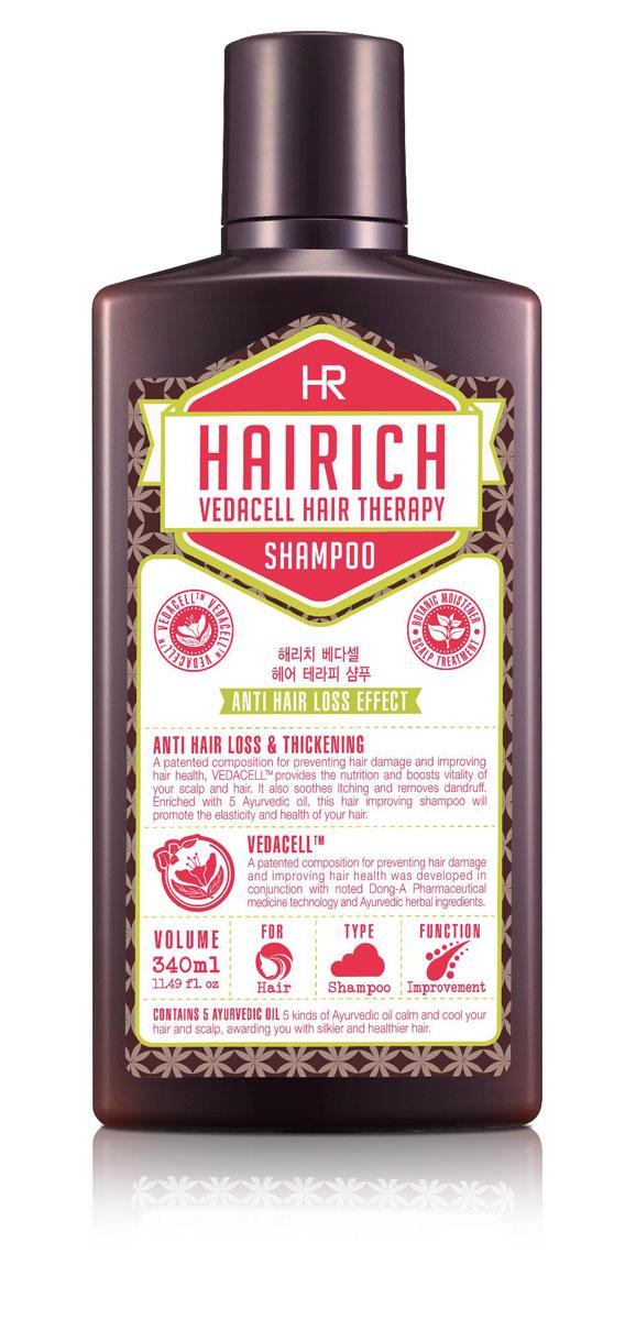 Hairich Шампунь Vedacell, 340 мл8806011814870Серия VEDACELL HAIR THERAPY содержит запатентованный комплекс растительных экстрактов (зеленый чай, имбирь, сосна, аир, хна, японский кипарис, арроурут, якорцы, амла), который препятствует выпадению, укрепляет и стимулирует рост волос. 5 видов аюрведических масел (кокоса, оливы, тыквенных семечек, подсолнечника) успокаивают, охлаждают кожу головы и придают волосам здоровое сияние. Все средства серии обладают приятным ароматом, который позволяет расслабиться и снимает накопленный за день стресс. Густая пена мягко очищает, удаляя омертвевшие клетки и кожное сало с кожи головы и волос. Шампунь улучшает циркуляцию крови кожи головы, питает и укрепляет корни, делая волосы густыми и крепкими. Не содержит силиконы