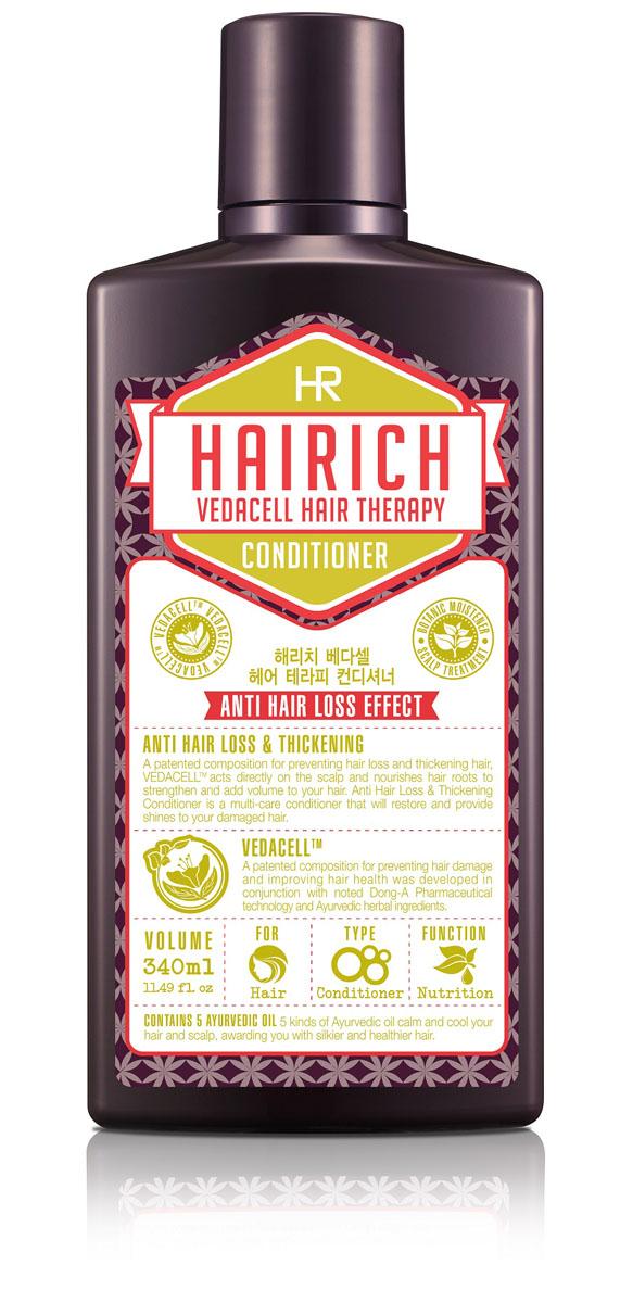 Hairich Кондиционер для волос Vedacell, 340 мл8806011814887Серия VEDACELL HAIR THERAPY содержит запатентованный комплекс растительных экстрактов (зеленый чай, имбирь, сосна, аир, хна, японский кипарис, арроурут, якорцы, амла), который препятствует выпадению, укрепляет и стимулирует рост волос. 5 видов аюрведических масел (кокоса, оливы, тыквенных семечек, подсолнечника) успокаивают, охлаждают кожу головы и придают волосам здоровое сияние. Все средства серии обладают приятным ароматом, который позволяет расслабиться и снимает накопленный за день стресс. Кондиционер интенсивно питает волосы, восстанавливает их природную силу и эластичность. Средство придает блеск и объем ослабленным волосам. Не содержит силиконы