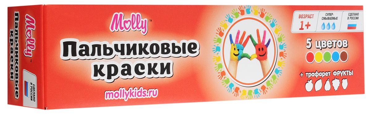 Molly Краски пальчиковые с трафаретом Фрукты 5 цветов