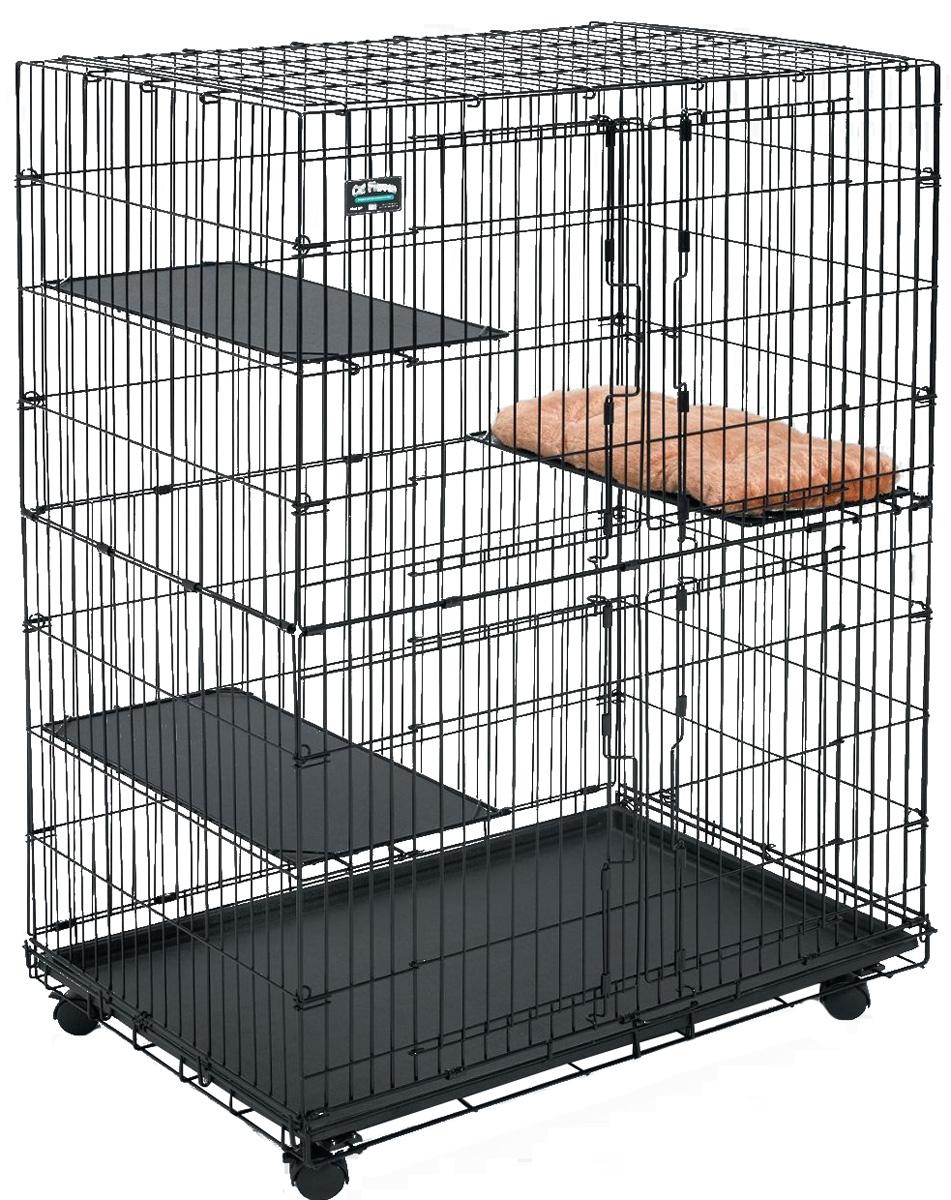 Клетка для кошек Midwest Cat Playpens, 91,5 x 60 x 128 см130Двухэтажная клетка для кошек Midwest Cat Playpens изготовлена из металла и покрыта специальным черным покрытием Electro-Coat, которое увеличивает срок ее эксплуатации. Подойдет для содержания как одного, так и нескольких животных. Клетка оснащена двумя независимыми фронтальными дверьми с надежными замками-задвижками. В комплект также входит 2 полки для удобства расположения животных и выдвигающийся поддон, который легко мыть и чистить. Клетка на колесах, полностью разборная, удобна для транспортировки. Высококачественные товары Midwest для транспортировки, комфорта и безопасности животных, позволят вам обустроить пространство для вашего питомца и сделать совместные путешествия легкими и удобными. Размер клетки: 91,5 х 60 х 128 см.