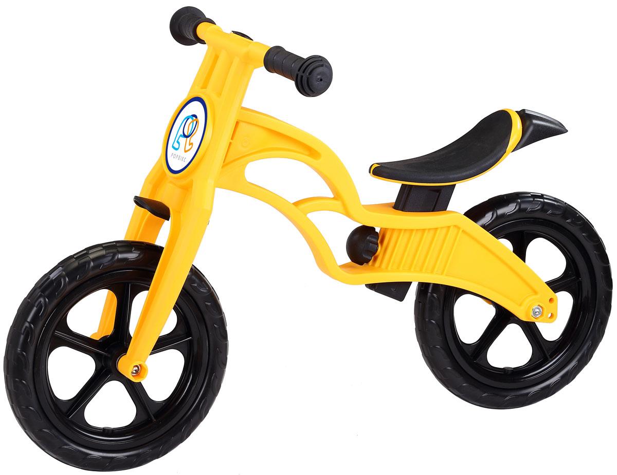 """Pop Bike Детский беговел Sprint с бескамерными колесами цвет желтыйSM-300-1-YELLOWДетский беговел Pop Bike Sprint c бескамерными колесами ОСОБЕННОСТИ: - Сверхлёгкая рама и вилка из композитного материала (прорезиненная мягкая пластмасса soft-touch). Рама изготовлена по специальной технологии, благодаря чему она прочнее аналогов на 30%. Ребёнок может сам переносить свой беговел. - Прорезиненное комфортное сиденье с лёгкой регулировкой по высоте (для детей ростом от 85см, на возраст от 2 лет). - Мягкие комфортные грипсы с защитными бар-эндами. - Переднее и заднее мини-крылья в комплекте. - Бескамерные колеса размером 12"""". - Простая и быстрая сборка. Все необходимые ключи в комплекте. - Большой выбор аксессуаров. - Удобная и компактная упаковка."""