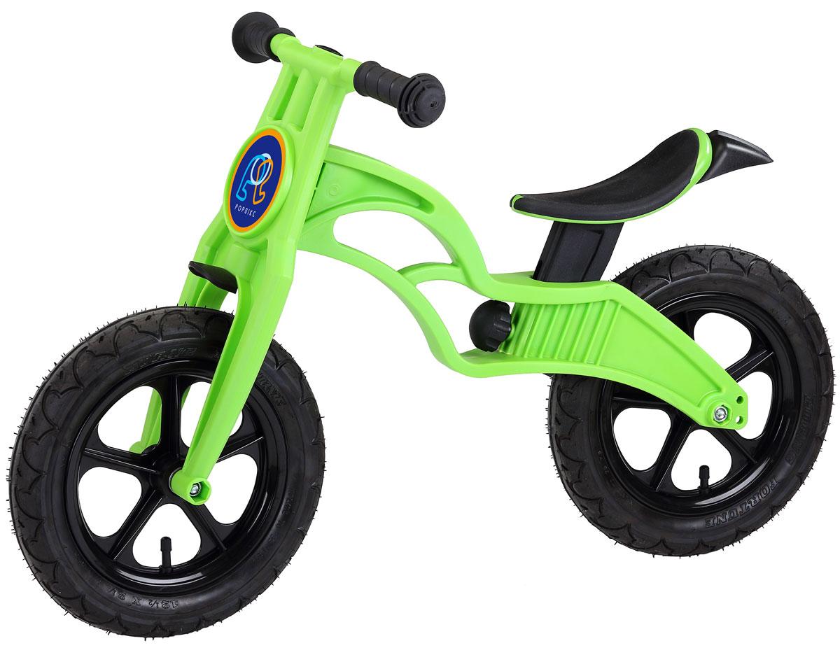 """Pop Bike Детский беговел Flash с надувными колесами цвет зеленыйSM-300-2-GREENДетский беговел Pop Bike Flash c надувными колесами ОСОБЕННОСТИ: - Сверхлёгкая рама и вилка из композитного материала (прорезиненная мягкая пластмасса soft-touch). Рама изготовлена по специальной технологии, благодаря чему она прочнее аналогов на 30%. Ребёнок может сам переносить свой беговел. - Прорезиненное комфортное сиденье с лёгкой регулировкой по высоте (для детей ростом от 85см, на возраст от 2 лет). - Мягкие комфортные грипсы с защитными бар-эндами. - Переднее и заднее мини-крылья в комплекте. - Надувные колеса размером 12"""". - Простая и быстрая сборка. Все необходимые ключи в комплекте. - Большой выбор аксессуаров. - Удобная и компактная упаковка."""