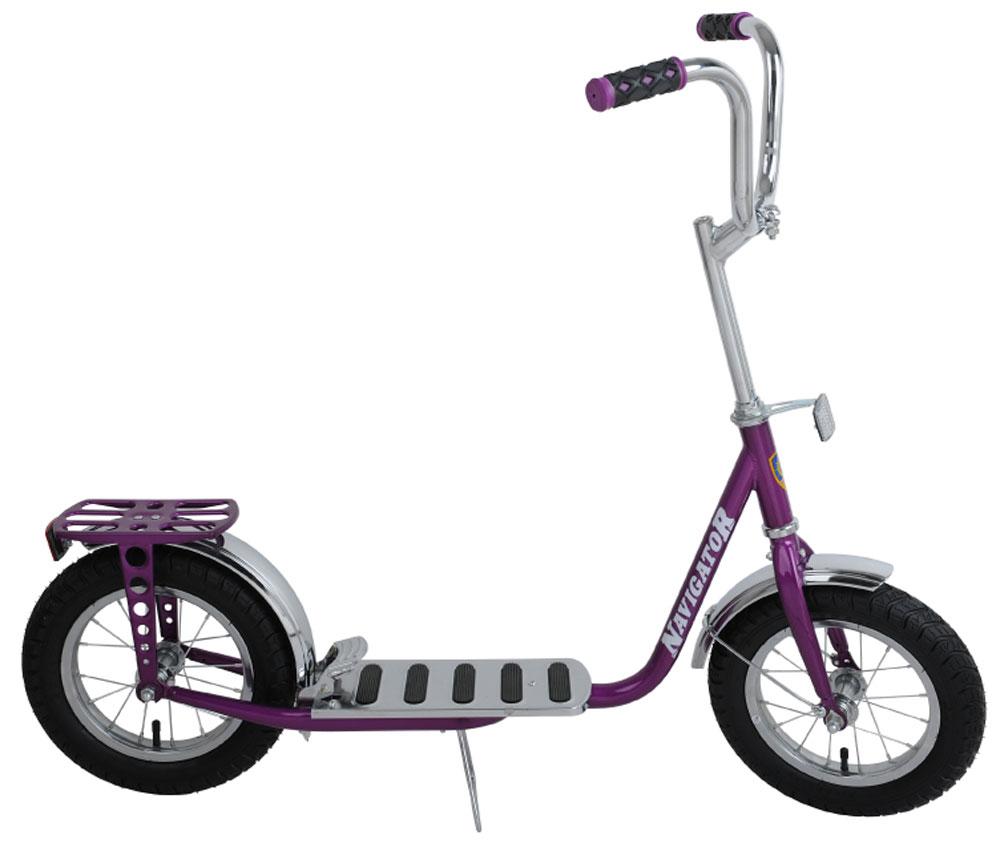Navigator Самокат двухколесный 12 дюймов цвет фиолетовыйВН12096Самокат с пневматическими (надувными) колесами обеспечивает комфортное передвижение по любой поверхности. Снабжен ножным тормозом, подножкой, багажником, колеса со стальными ободами.