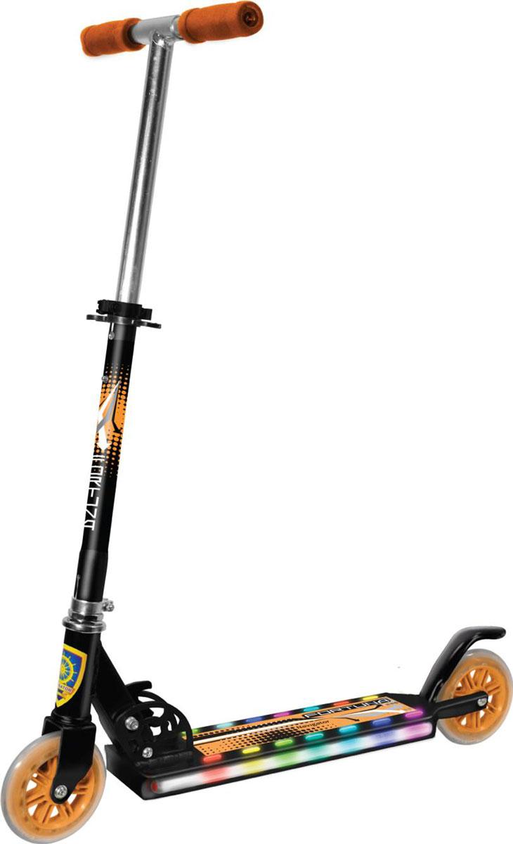 Navigator Самокат двуколесный цвет черный оранжевыйТ56881Самокат NAVIGATOR обладает превосходными ходовыми качествами, надежностью, доступной ценой и широким модельным рядом. Со световыми эффектами и тормозом
