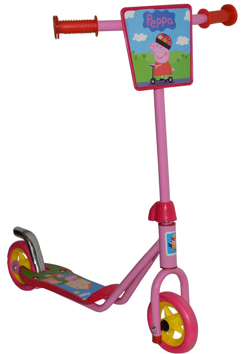 1TOY Самокат двухколесный Peppa цвет розовый красныйТ57568Самокат двухколесный c популярной лицензией Peppa, с передним щитком и тормозом
