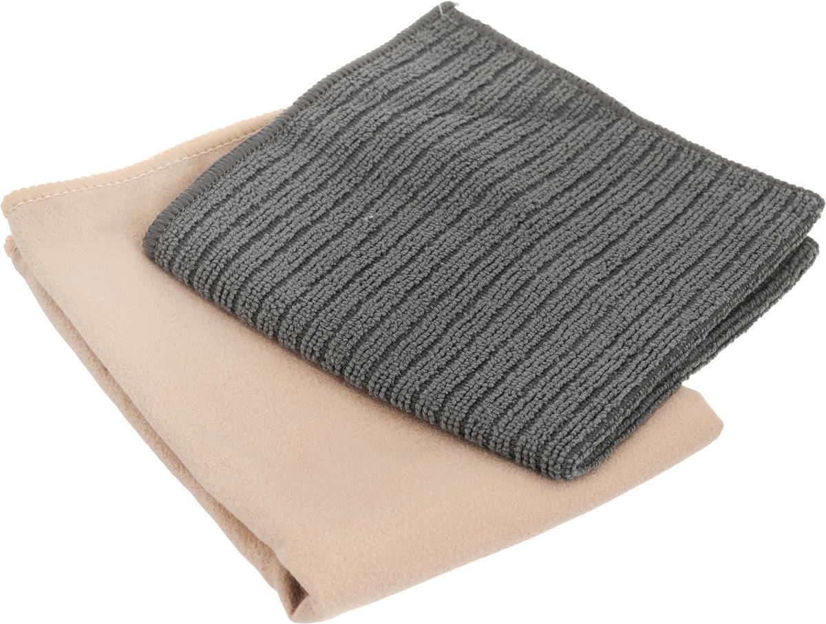 Салфетка чистящая Sapfire Cleaning Сloth & Suede, цвет: бежевый, серый, 35 х 40 см, 2 штSFM-3069_бежевый, серыйБлагодаря своей уникальной ворсовой структуре, салфетки Sapfire Cleaning Сloth прекрасно подходят для мытья и полировки автомобиля. Материал салфеток: микрофибра (85% полиэстер и 15% полиамид), обладает уникальной способностью быстро впитывать большой объем жидкости. Клиновидные микроскопические волокна захватывают и легко удерживают частички пыли, жировой и никотиновый налет, микроорганизмы, в том числе болезнетворные и вызывающие аллергию. Протертая поверхность становится идеально чистой, сухой, блестящей, без разводов и ворсинок. Допускается машинная и ручная стирка слабым моющим раствором в теплой воде. Отбеливание и глажка запрещены. Размер салфеток: 35 х 40 см.