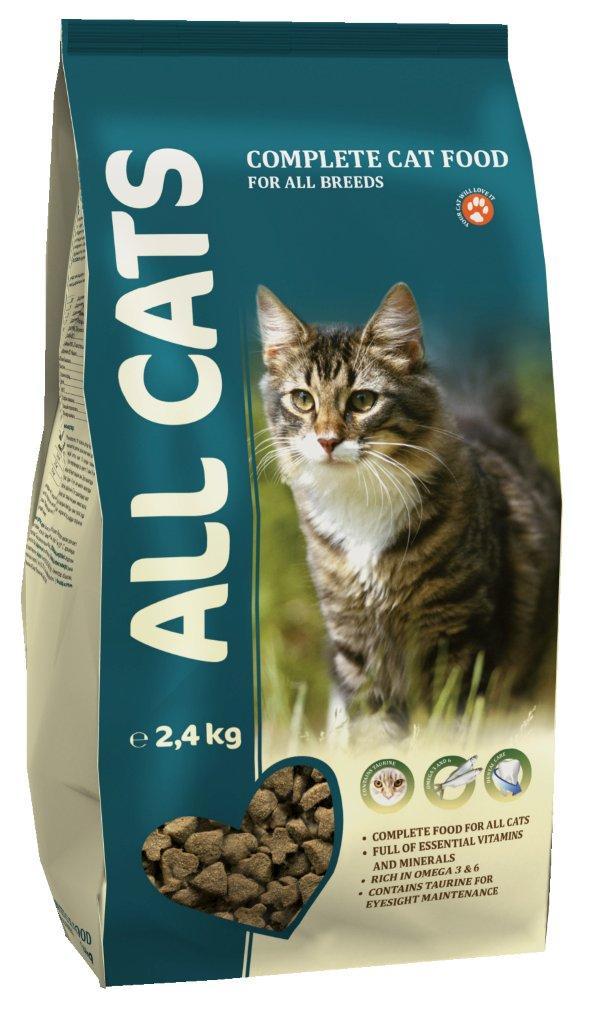 Корм сухой полнорационный для взрослых кошек ALL CATS 2,4 кг6677Гарантируемые показатели. сырой протеин – 30 % сырой жир – 9 % сырая клетчатка – 3 % сырая зола – 7 % кальций – 1,3 % фосфор –1,0 % Энергетическая ценность- 340 ккал/100 г. Перечень компонентов, входящих в рецептуру. злаки, мясо и продукты животного происхождения, овощи, масла и жиры, рыба и рыбные субпродукты (источник Омега-3 и Омега-6 жирных кислот), минеральные вещества и витамины.