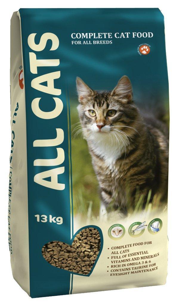 Корм сухой полнорационный для взрослых кошек ALL CATS 13 кг6684Гарантируемые показатели. сырой протеин – 30 % сырой жир – 9 % сырая клетчатка – 3 % сырая зола – 7 % кальций – 1,3 % фосфор –1,0 % Энергетическая ценность- 340 ккал/100 г. Перечень компонентов, входящих в рецептуру. злаки, мясо и продукты животного происхождения, овощи, масла и жиры, рыба и рыбные субпродукты (источник Омега-3 и Омега-6 жирных кислот), минеральные вещества и витамины.