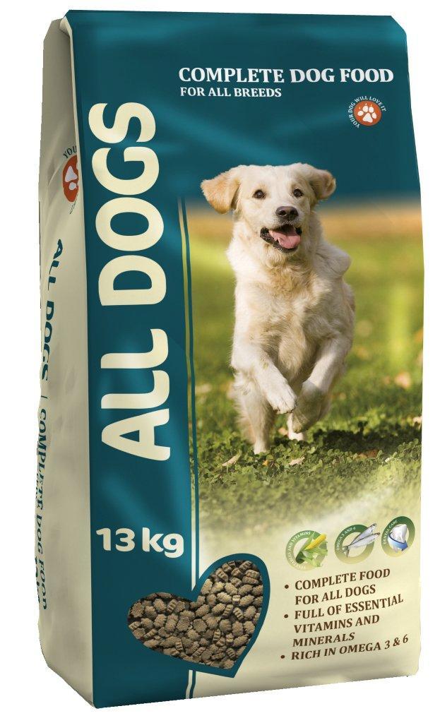 Корм сухой полнорационный для взрослых собак ALL DOGS 13 кг6738Гарантируемые показатели. сырой протеин - 22 % сырой жир - 10 % сырая клетчатка - 4 % сырая зола – 8 % кальций – 1,4 % фосфор – 1,1 % Энергетическая ценность- 327 ккал/100 г. Перечень компонентов, входящих в рецептуру. злаки, мясо и продукты животного происхождения, овощи, масла и жиры, рыба и рыбные субпродукты (источник Омега-3 и Омега-6 жирных кислот), минеральные вещества и витамины.
