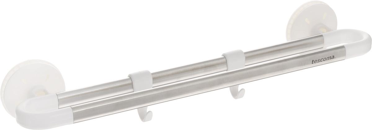 Вешалка двухрядная Tescoma Octopus, 2 крючка899618Двухрядная вешалка Tescoma Octopus поможет эффективно организовать пространство на кухне. Изделие выполнено из прочного пластика и высококачественной нержавеющей стали. Вешалка снабжена вакуумными присосками, которые надежно удерживают ее. Два пластиковых крючка подходят для подвешивания кухонной утвари, прихваток и мелких кухонных принадлежностей, а перекладина - для полотенец. Вешалка способна долговременно выдерживать вес до 2 кг.