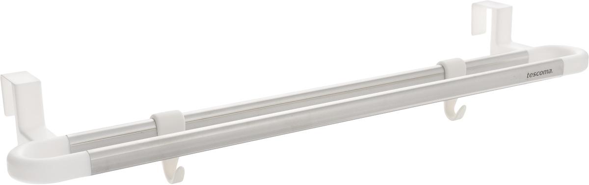 Вешалка подвесная Tescoma Octopus, двухрядная, 2 кручка. 899670899670Двухрядная вешалка Tescoma Octopus поможет эффективно организовать пространство на кухне. Изделие выполнено из прочного пластика и высококачественной нержавеющей стали. Вешалку можно разместить на дверцу кухонного шкафа. Два пластиковых крючка подходят для подвешивания кухонной утвари, прихваток и других принадлежностей, а перекладина - для полотенец. Вешалка способна долговременно выдерживать вес до 2 кг.