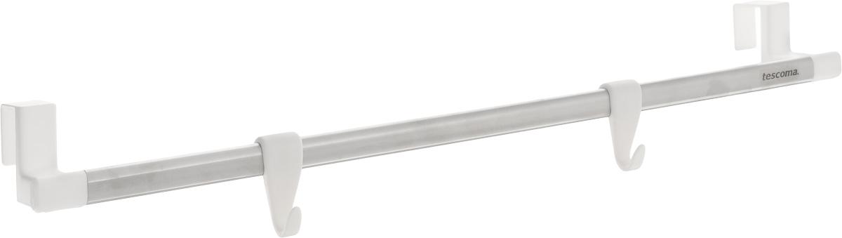 Вешалка подвесная Tescoma Octopus, 2 крючка899662Подвесная вешалка Tescoma Octopus поможет эффективно организовать пространство на кухне. Изделие выполнено из прочного пластика и высококачественной нержавеющей стали. Вешалку можно разместить на дверцу кухонного шкафа. Два пластиковых крючка подходят для подвешивания кухонной утвари, прихваток и других принадлежностей, а перекладина - для полотенец.