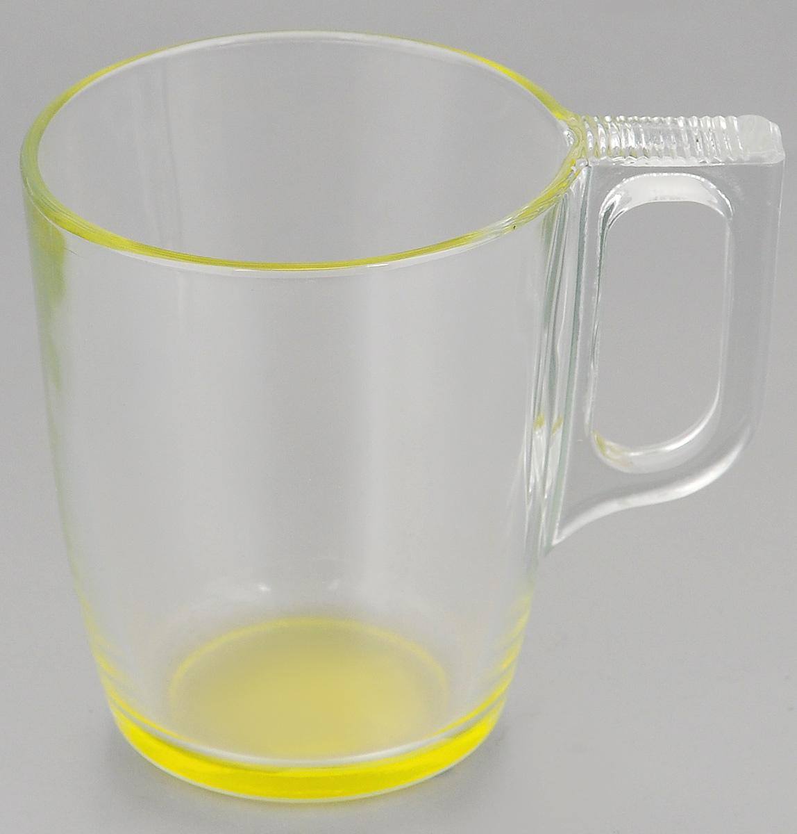 Кружка Luminarc Crazy Colors Yellow. 250 млJ3708Кружка Luminarc Crazy Colors Yellow, изготовленная из ударопрочного стекла, прекрасно подойдет для горячих и холодных напитков. Она дополнит коллекцию вашей кухонной посуды и будет служить долгие годы. Диаметр кружки (по верхнему краю): 7,5 см.