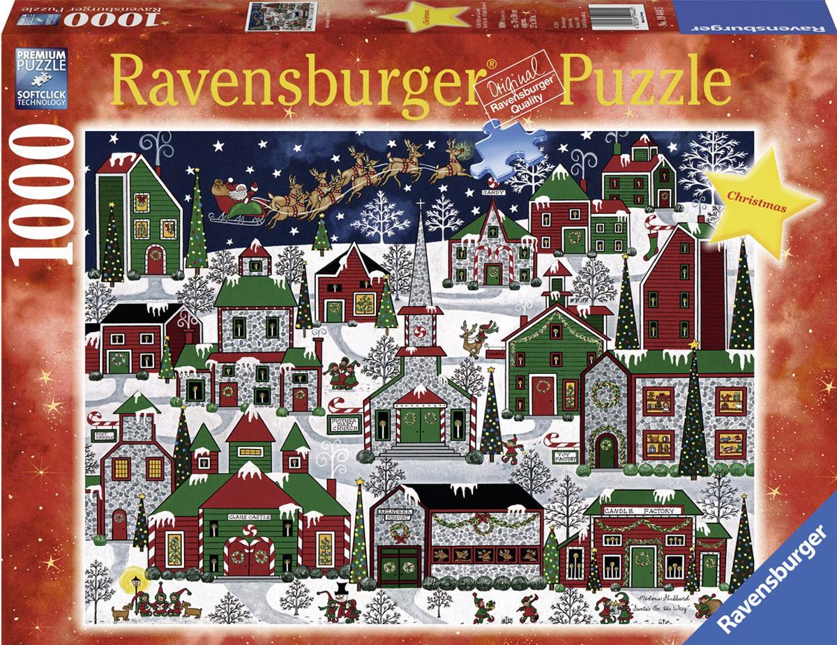 Ravensburger Пазл Рождественский город19444Пазл Ravensburger Рождественский город, без сомнения, придется по душе вам и вашему ребенку. Собрав этот пазл, включающий в себя 1000 элементов, вы получите яркую картинку с зимним праздничным городом. Каждая деталь имеет свою форму и подходит только на своё место. Нет двух одинаковых деталей! Пазл изготовлен из картона высочайшего качества. Все изображения аккуратно отсканированы и напечатаны на ламинированной бумаге. Пазлы - замечательная развивающая игра для детей. Собирание пазла развивает у ребенка мелкую моторику рук, тренирует наблюдательность, логическое мышление, знакомит с окружающим миром, с цветом и разнообразными формами, учит усидчивости и терпению, аккуратности и вниманию.