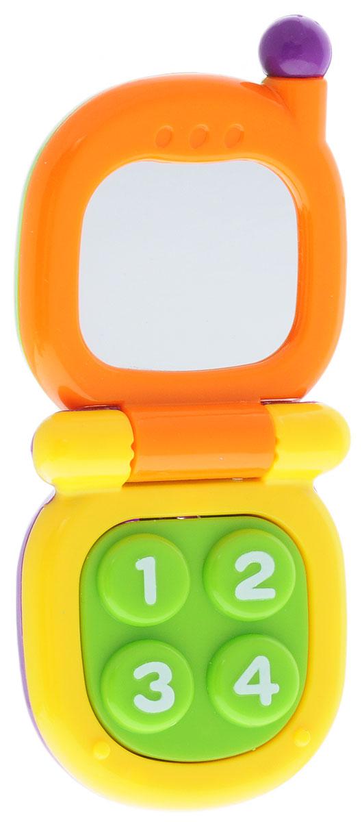 Mioshi Развивающая игрушка Телефон с зеркальцем цвет оранжевый желтый