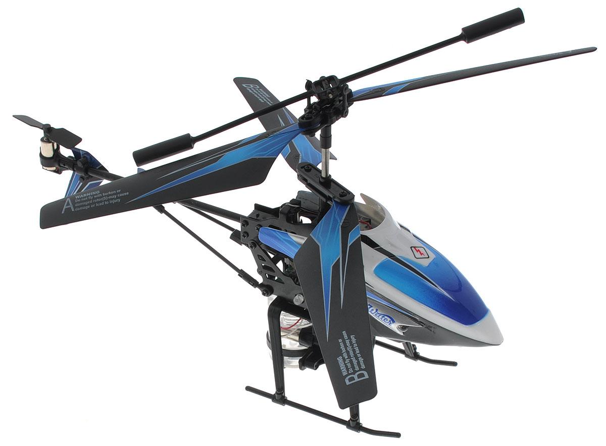 Mioshi Вертолет на инфракрасном управлении Splash цвет синий черныйMTE1202-111Вертолет на инфракрасном управлении Mioshi Splash со встроенным гироскопом отлично подходит для полетов в закрытых помещениях и на улице в безветренную погоду. Гироскоп предназначен для курсовой стабилизации полета. Вертолет небольшой и маневренный, легко обходит препятствия, послушно следуя командам c пульта управления. Игрушка может летать вверх-вниз, вперед-назад, поворачивать влево-вправо, вращаться на 360 градусов и зависать в воздухе. Почувствуйте себя пилотом настоящего современного вертолета, который может совершать воздушные атаки водой! Дальность стрельбы водой - около двух метров. Игрушка развивает многочисленные способности ребенка - мелкую моторику, пространственное мышление, реакцию и логику. Вертолет работает от встроенного аккумулятора, который можно заряжать от USB-шнура (входит в комплект). Для работы пульта управления необходимо купить 6 батареек напряжением 1,5V типа АА (в комплект не входят).