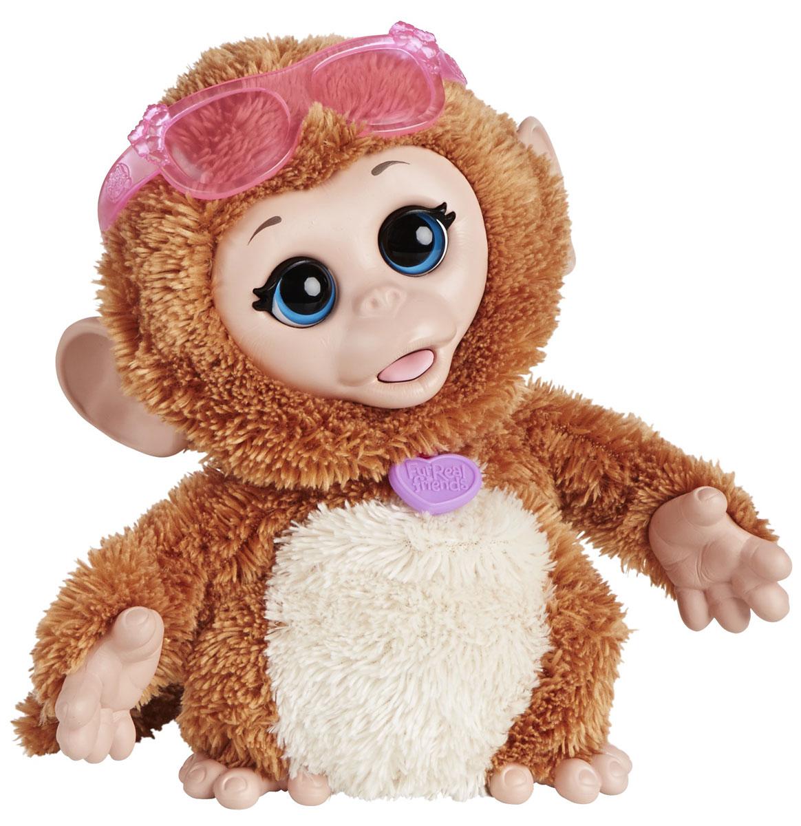 FurReal Friends Интерактивная игрушка ОбезьянкаA5717_A8756Ваш ребенок мечтает о красивом маленьком зверьке, но нет возможности исполнить его желание? Анимированная игрушка FurReal Friends Озорные зверята: Щенок привлечет внимание ребенка и станет для него отличным подарком. Эта веселая обезьянка обожает, когда ее щекочут! Пощекочите животик обезьянки, и она засмеется и будет забавно кружиться и подпрыгивать. В комплект также входят модные очки, которыми девочка сможет украсить игрушку. Порадуйте своего ребенка таким замечательным подарком! Рекомендуется докупить 3 батарейки напряжением 1,5V типа АA (товар комплектуется демонстрационными).