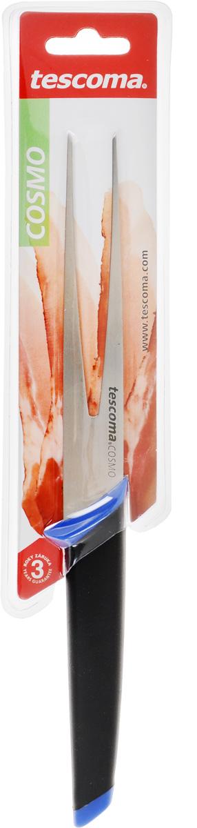 Вилка порционная Tescoma Cosmo, цвет: синий, черный, длина зубцов 14 см863522_синийВилка порционная Tescoma Cosmo изготовлена из первоклассной нержавеющей стали. Зубцы имеют специальную форму для достижения максимального эффекта при использовании. Уникальная эргономичная ручка изготовлена из прорезиненного материала, который при увлажнении увеличивает сцепление с ладонью. Изделие пригодно для мытья в посудомоечной машине. Длина вилки: 26 см. Длина зубцов: 14 см.