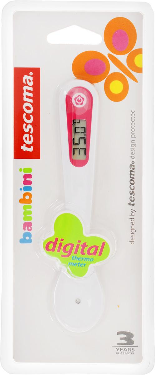 Термометр-ложка цифровой Tescoma Bambini, цвет: розовый, белый668260Цифровой термометр-ложка Tescoma Bambini предназначен для быстрого и точного измерения температуры детской еды и напитков в °C и °F и их дегустации взрослым. Изделие изготовлено из пластика, датчик из высококачественной нержавеющей стали. Поставляется с батарейками. Не предназначено для кормления детей или в качестве игрушки, а также нельзя мыть в посудомоечной машине. Длина термометра: 14 см.