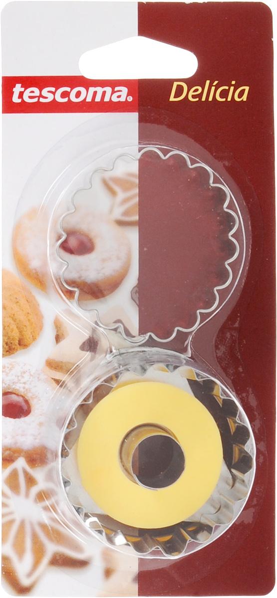 Пресс-форма для печенья Tescoma Круги, цвет: желтый, стальной, диаметр 5 см, 2 шт631250_желтый, стальнойПресс-форма Tescoma Круги для печенья выполнена из высококачественного металла и пластика. С помощью пресс-формы вырежьте из теста форму, перенесите на лист и нажатием пружины выдавите тесто. Не рекомендуется мыть в посудомоечной машине. Диаметр формы: 5 см.