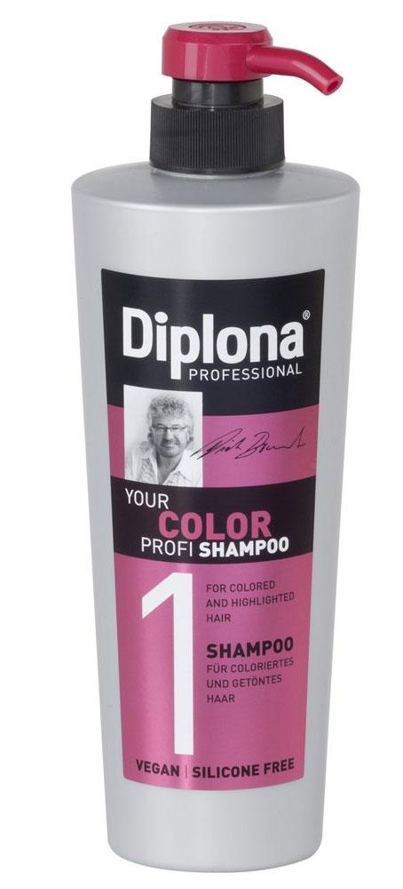Шампунь Diplona Professional Your Color Profi, для окрашенных и мелированых волос, 600 мл95170Шампунь Diplona Professional Your Color Profi - бережный уход для окрашенных и мелированых волос. Основные компоненты: Масло жожоба - богато витамином Е, активизирует процессы регенерации. Обеспечивает защитный слой, не оставляет жирного блеска на коже и волосах. Пантенол - помогает восстановить поврежденные волосяные луковицы и секущиеся концы волос. УФ фильтр осторожно обволакивает волосы, тем самым защищая их от неблагоприятных факторов окружающей среды и предотвращая сухость, ломкость, потускнение и изменение цвета окрашенных и мелированных волос. Экстракт инжира - глубоко увлажняет и смягчает волосы, оказывает восстанавливающее действие. Витамин B3 - способствует росту волос.