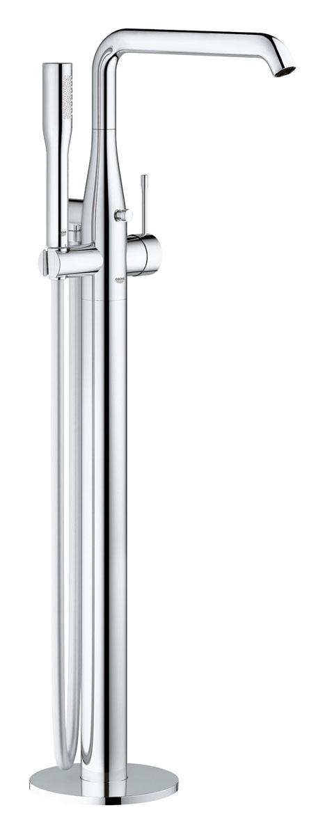 Смеситель для ванны GROHE Essence+ с душевым гарнитуром, свободностоящий (23491001)23491001напольный монтаж Набор для монтажа 45984000 без набора щитков для монтажа GROHE SilkMove® керамический картридж 35 мм с ограничителем температуры GROHE StarLight® хромированная поверхность автоматический переключатель: ванна/душ поворотный излив с аэратором и стопором вынос 277 мм встроенный обратный клапан в душевом отводе 1/2 держатель ручного душа ручной душ Euphoria Cosmopolitan Stick (27 400 000) 9.5 л\мин душевой шланг Silverflex 1.250 мм (28 362 000) с защитой от обратного потока минимальное давление 1,0 бар Sena ручной душ