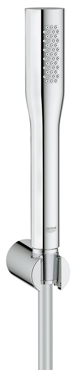 Душевой набор GROHE Euphoria Cosmopolitan (ручной душ, настенный держатель, шланг 1500 мм) (27369000)27369000включает в себя: ручной душ 27 400 000 Настенный держатель (27 056 000) душевой шланг Silverflex 1.500 мм (28 364 000) GROHE StarLight® хромированная поверхность 9,5 л/мин ограничитель расхода воды GROHE EcoJoy® Технология совершенного потока при уменьшенном расходе воды с системой SpeedClean против известковых отложений Внутренний охлаждающий канал для продолжительного срока службы установка при давлении от 0,5 бар