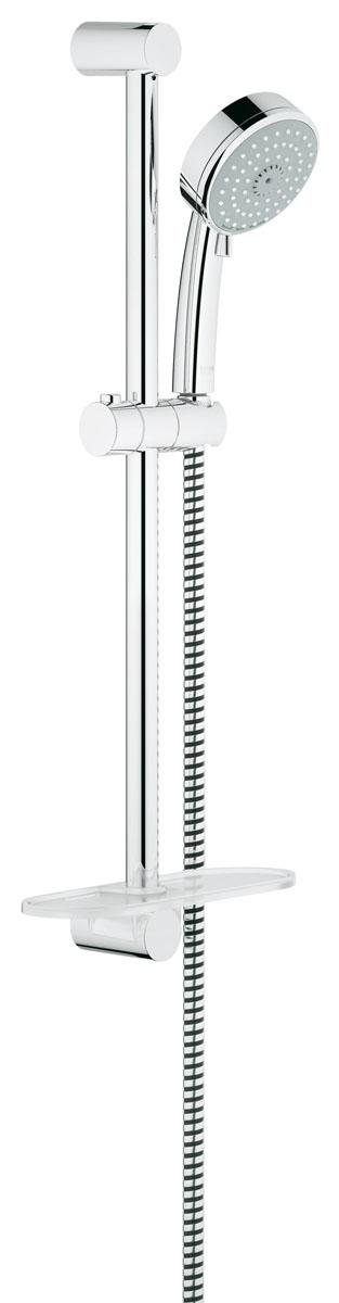 Душевой гарнитур с полочкой GROHE Tempesta Cosmopolitan (ручной душ, штанга 600 мм, шланг 1750 мм) с ограничением расхода воды (27576001)27576001включает в себя: ручной душ (27 574 001) душевая штанга, 600 мм душевой шланг Relexaflex 1750 мм 1/2 x 1/2 (28 154 000) 9,5 л/мин ограничитель расхода воды Полочка GROHE EasyReach™ (27 596 000) GROHE DreamSpray® превосходный поток воды GROHE EcoJoy® Технология совершенного потока при уменьшенном расходе воды GROHE StarLight® хромированная поверхность с системой SpeedClean против известковых отложений Внутренний охлаждающий канал для продолжительного срока службы может использоваться с проточным водонагревателем минимальное давление 1,0 бар