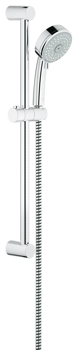 Душевой гарнитур с полочкой GROHE Tempesta Cosmopolitan (ручной душ, штанга 600 мм, шланг 1750 мм) (27580001)27580001включает в себя: ручной душ (27 575 001) душевая штанга, 600 мм (27 521 000) душевой шланг Relexaflex 1750 мм 1/2 x 1/2 (28 154 000) 9,5 л/мин ограничитель расхода воды GROHE EcoJoy® Технология совершенного потока при уменьшенном расходе воды GROHE DreamSpray® превосходный поток воды GROHE StarLight® хромированная поверхность с системой SpeedClean против известковых отложений Внутренний охлаждающий канал для продолжительного срока службы может использоваться с проточным водонагревателем минимальное давление 1,0 бар