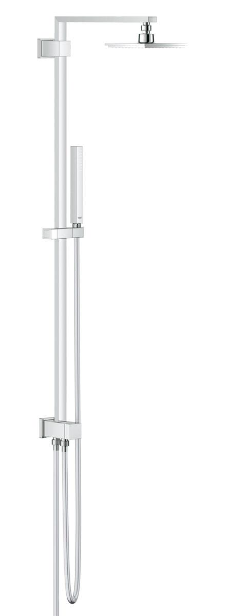 Душевая система с переключателем GROHE Euphoria Cube, верхний и ручной душ, без смесителя (27696000)27696000переключатель с верхнего на ручной душ включает в себя: душевой кронштейн вынос 400 мм Верхний душ Euphoria Cube 152 мм x 152 мм душевая струя Rain с шаровым шарниром угол поворота ± 20° ручной душ Euphoria Cube Stick (27 698 000) регулируется по высоте с помощью скользящего элемента душевой шланг 1750 мм (28 388 000) Silverflex Душевой шланг 800 мм подключение воды к смесителю через 1/2-резьбу металлического шланга (28 144 000) минимальный расход воды 7л/мин GROHE DreamSpray® превосходный поток воды GROHE StarLight® хромированная поверхность с системой SpeedClean против известковых отложений Twistfree против перекручивания шланга совместим с проточным водонагревателем от 18 kВ/ч минимальное давление 1,0 бар