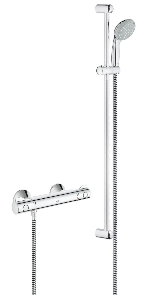 Термостат для душа GROHE Grohtherm 800 с душевым гарнитуром (штанга 900 мм) (34566000)34566000с душевым гарнитуром включает в себя: Grohtherm 800 Термостат для душа 1/2 (34 558 000) GROHE TurboStat® встроенный термоэлемент дополнительно: вентиль регулировки расхода воды 9,5 л/мин GROHE EcoJoy® - Технология совершенного потока при уменьшенном расходе воды Внутренний охлаждающий канал для продолжительного срока службы GROHE DreamSpray® превосходный поток воды GROHE StarLight® хромированная поверхность с системой SpeedClean против известковых отложений ShockProof силиконовое кольцо, предотвращающее повреждение поверхности при падении ручного душа опция: дополнительная рукоятка для ограничения температуры при 43°C минимальное давление 1,0 бар