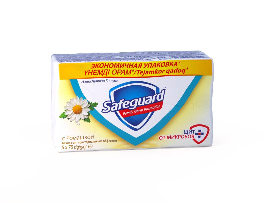 Safeguard Антибактериальное мыло Ромашка, 5 х 75 гSG-81540451Мыло Safeguard на 100% рекомендовано специалистами по всему миру! Антибактериальное мыло Safeguard Ромашка в экономичной упаковке 5 шт по 75г. уничтожает до 99,9% всех известных болезнетворных бактерий и ухаживает за кожей рук: • поверхностно активные вещества эффективно удаляют все виды микробов в момент смывания • антибактериальный комплекс обеспечивает защиту от самых опасных граммоположительных бактерии (Стрептококк, Стафилококк) до 12 часов после смывания • смягчающие компоненты оказывают успокаивающее воздействие на кожу рук, и ваши руки сияют здоровьем Это мыло - просто находка! Отличная защита от микробов, не вызывает раздражения, пользуемся всей семьей