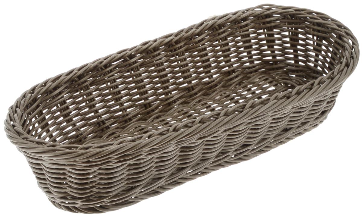 Корзинка Tescoma Flair, цвет: коричневый, 36 x 16,5 х 9 см665038_коричневыйПлетеная корзинка Tescoma Flair изготовлена из устойчивого к воздействию окружающей среды искусственного волокна. Идеально подходит для хранения выпечки, конфет, фруктов, косметики, рукоделия и оформления подарков. Она не требует тщательного ухода, не впитывает запахи, не боится воды и не разрушается от перепада температур. Корзинка Tescoma Flair отлично впишется в интерьер вашего дома. Можно мыть в посудомоечной машине.
