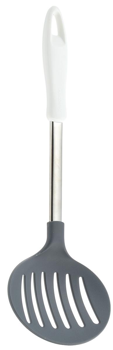 Шумовка Tescoma Presto, длина 34 см420476Шумовка Tescoma Presto, изготовленная из высококачественной нержавеющей стали и нейлона, поможет вам без особого труда снять пену, вынуть из кастрюли мясо или рыбу. Изделие оснащено эргономичной пластиковой ручкой, которая не скользит в руках и обеспечивает надежный хват. Шумовка Tescoma Presto займет достойное место среди аксессуаров на вашей кухне. Можно мыть в посудомоечной машине. Общая длина шумовки: 34 см. Размер рабочей части шумовки: 12 х 11,5 см.