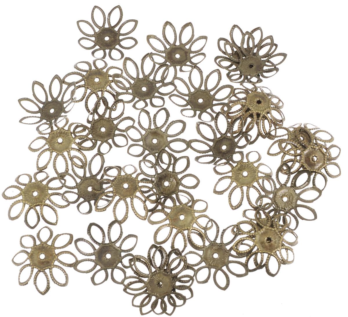 Шапочка для бусин Астра, цвет: медь, 19 х 5 мм, 30 шт. 77057077705707_медьНабор Астра, изготовленный из металла, состоит из 30 шапочек для бусин в виде цветов. Набор позволит вам своими руками создать оригинальные ожерелья, бусы или браслеты. Шапочки обрамляют бусины и придают законченный красивый вид изделию. Их можно крепить как с одной, так и с обеих сторон бусины. Это прекрасная фурнитура для создания бижутерии. Изготовление украшений - занимательное хобби и реализация творческих способностей рукодельницы, это возможность создания неповторимого индивидуального подарка.