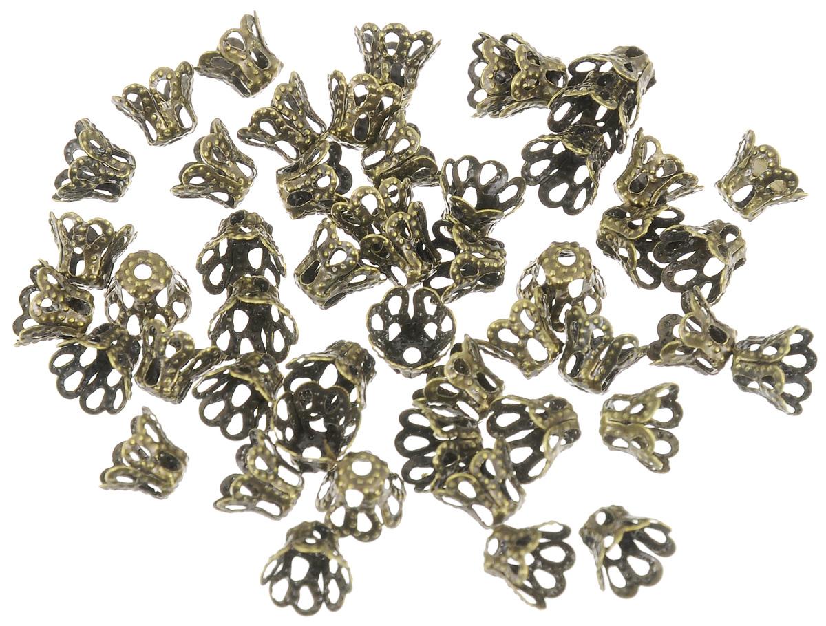 Шапочка для бусин Астра, цвет: латунь, 6,5 х 5 мм, 50 шт. 77057117705711_латуньНабор Астра, изготовленный из металла, состоит из 50 шапочек для бусин. Набор позволит вам своими руками создать оригинальные ожерелья, бусы или браслеты. Шапочки обрамляют бусины и придают законченный красивый вид изделию. Их можно крепить как с одной, так и с обеих сторон бусины. Это прекрасная фурнитура для создания бижутерии. Изготовление украшений - занимательное хобби и реализация творческих способностей рукодельницы, это возможность создания неповторимого индивидуального подарка.