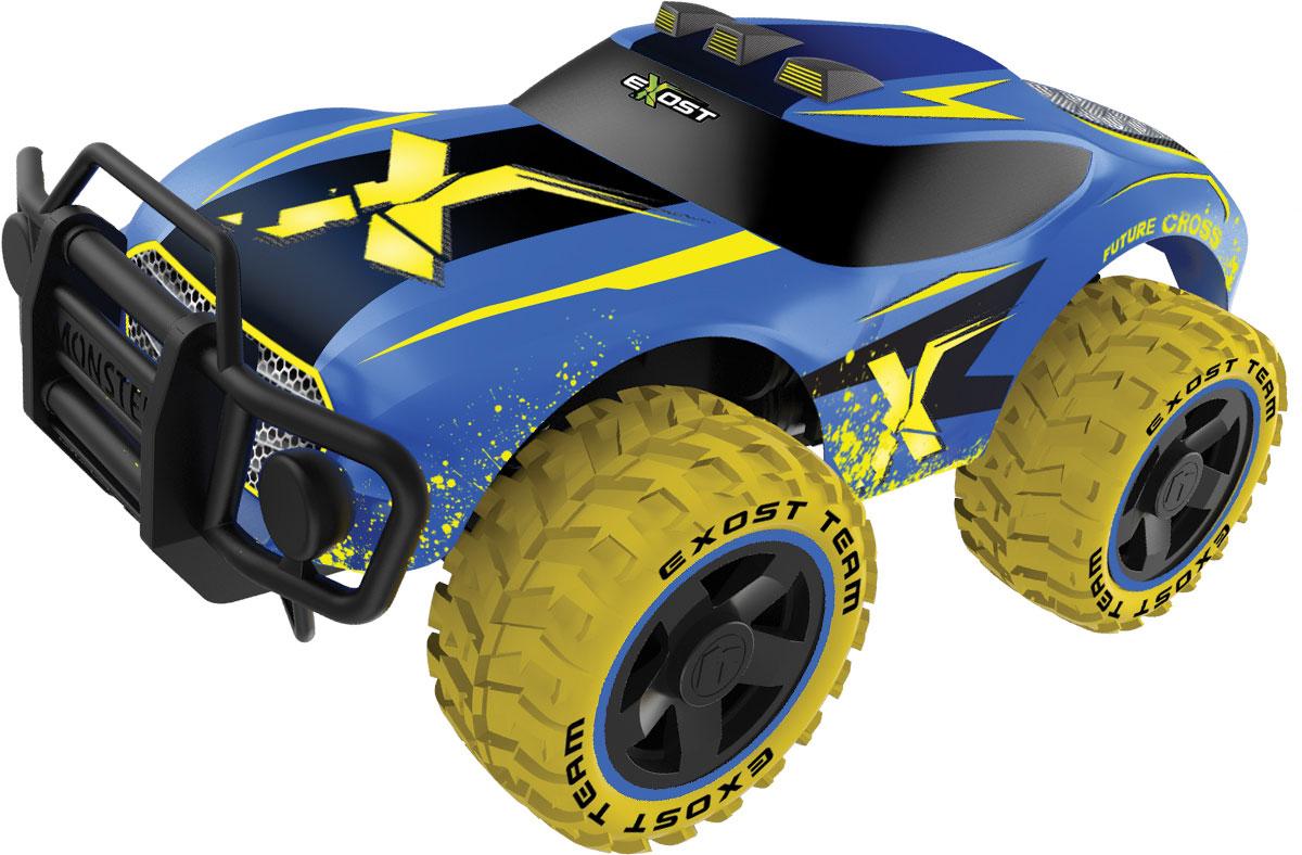 Silverlit Машина на радиоуправлении Футур Кросс цвет синий желтыйTE119Машина на радиоуправлении Silverlit Футур Кросс обязательно понравится вашему ребенку и займет его внимание надолго. Корпус внедорожника выполнен из пластика с использованием металлических элементов, колеса прорезинены. Серьезные габариты придают реалистичность в управлении. Управление автомобилем происходит с помощью пульта, который работает на частоте 27 MHz. Машинка двигается вперед и назад, поворачивает направо и налево. Радиоуправляемые игрушки способствуют развитию координации движений, моторики и ловкости. Ваш ребенок увлеченно будет играть с моделью, придумывая различные истории и устраивая соревнования. Порадуйте его таким замечательным подарком! Машина работает аккумулятора (входит в комплект). Зарядное устройство также входит в комплект. Пульт управления работает от батарейки типа Крона (входит в комплект).