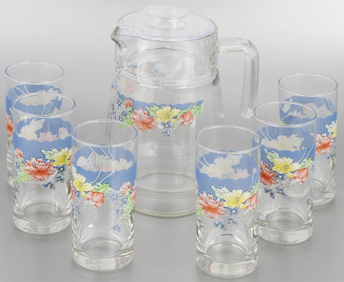 Набор питьевой Luminarc Florine, 7 предметовC6831Питьевой набор Luminarc Florine состоит из 6 стаканов и кувшина с пластиковой крышкой. Изделия выполнены из высококачественного прочного стекла и декорированы красивым цветочным рисунком. Набор прекрасно подходит для сока, воды, лимонада и других напитков. Изделия устойчивы к повреждениям и истиранию, в процессе эксплуатации не впитывают запахи и сохраняют первоначальные краски. Посуда Luminarc обладает не только высокими техническими характеристиками, но и красивым эстетичным дизайном. Luminarc - это современная, красивая, практичная столовая посуда. Можно мыть в посудомоечной машине. Объем кувшина: 1,6 л. Диаметр кувшина по верхнему краю: 10 см. Высота кувшина (без учета крышки): 20,5 см. Объем стакана: 270 мл. Диаметр стакана по верхнему краю: 6 см. Высота стакана: 13,5 см.