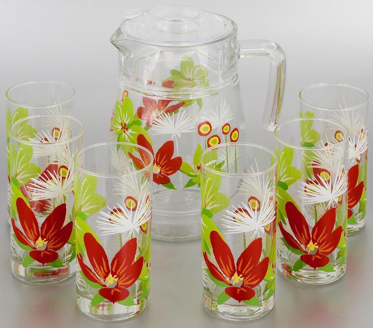 Набор питьевой Luminarc Pop Flowers Green, 7 предметовD3184Питьевой набор Luminarc Pop Flowers Green состоит из 6 стаканов и кувшина с пластиковой крышкой. Изделия выполнены из высококачественного прочного стекла и декорированы красивым цветочным рисунком. Набор прекрасно подходит для сока, воды, лимонада и других напитков. Изделия устойчивы к повреждениям и истиранию, в процессе эксплуатации не впитывают запахи и сохраняют первоначальные краски. Посуда Luminarc обладает не только высокими техническими характеристиками, но и красивым эстетичным дизайном. Luminarc - это современная, красивая, практичная столовая посуда. Можно мыть в посудомоечной машине. Объем кувшина: 1,6 л. Диаметр кувшина (по верхнему краю): 10 см. Высота кувшина (без учета крышки): 20,5 см. Объем стакана: 270 мл. Диаметр стакана (по верхнему краю): 6 см. Высота стакана: 13,5 см.