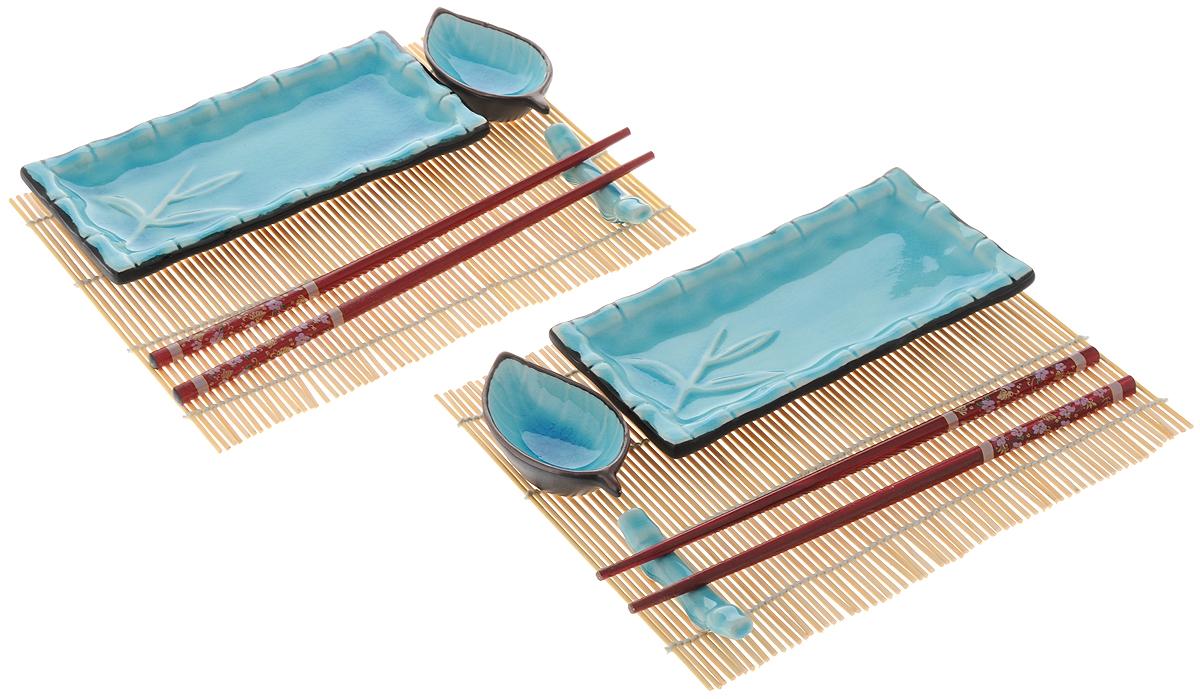 Набор для суши Elan Gallery Бамбук, цвет: голубой, 10 предметов940038Набор для суши Elan Gallery Бамбук, выполненный из керамики, идеален в качестве подарка любителям восточной кухни. В комплекте два блюда для суши, два блюда для соуса, два коврика, две подставки для палочек, два набора палочек. Данный набор идеально подойдет для грамотной и красивой сервировки стола. Можно использовать в микроволновой печи. Размер блюда для суши: 17,8 х 8,7 х 2,2 см. Размер блюда для соуса: 9,5 х 4,2 х 2,5 см. Длина палочек: 24 см. Размер подставки для палочек: 7,5 х 1,5 х 2 см. Размер коврика: 23,5 х 19,5 см.