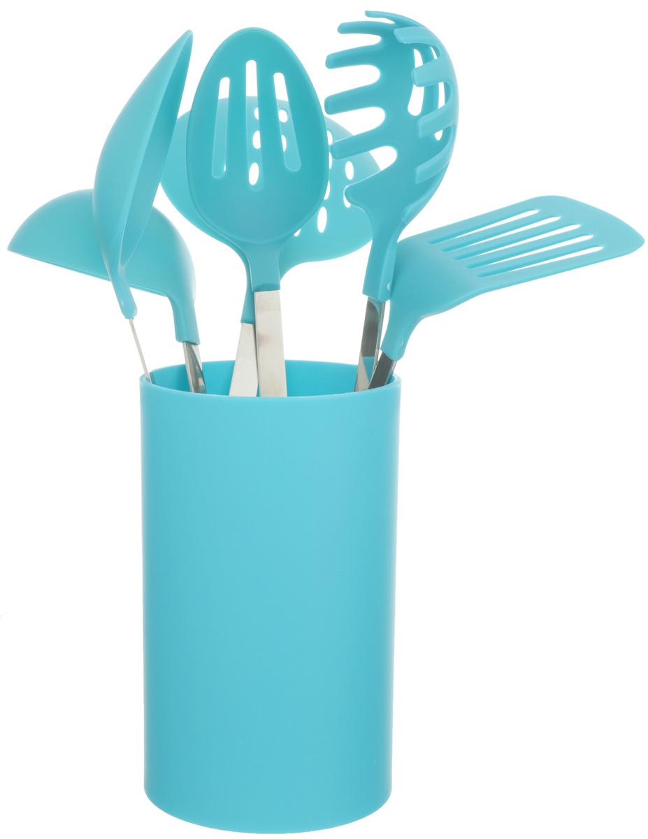 Набор кухонных принадлежностей Mayer & Boch, 7 предметов, цвет: бирюзовый. 2248522485_голубойНабор кухонных принадлежностей Mayer & Boch состоит из ложки для спагетти, шумовки, ложки для гарнира, половника, ложки для помешивания, лопатки с прорезями и подставки. Предметы набора выполнены из нержавеющей стали и нейлона и полипропилена. Подставка изготовлена с эластичным покрытием Soft-Touch. Набор Mayer & Boch подчеркнет неповторимый дизайн вашей кухни и превратит приготовление еды в настоящее удовольствие. Размер подставки: 11 х 11 х 18 см. Длина половника: 30 см. Размер рабочей части половника: 9 х 9 см. Длина ложки для гарнира: 32,5 см. Размер рабочей части ложки: 10 х 6,5 см. Длина ложки для помешивания: 32,5 см. Размер рабочей части ложки: 10 х 6,5 см. Размер лопатки с прорезями: 31,5 см. Размер рабочей части лопатки: 9,5 х 8 см. Размер рабочей части лопатки: 9,5 х 8 см. Длина ложки для спагетти: 33,5 см. Размер рабочей части ложки для спагетти: 9,5 х 7 см. Длина...